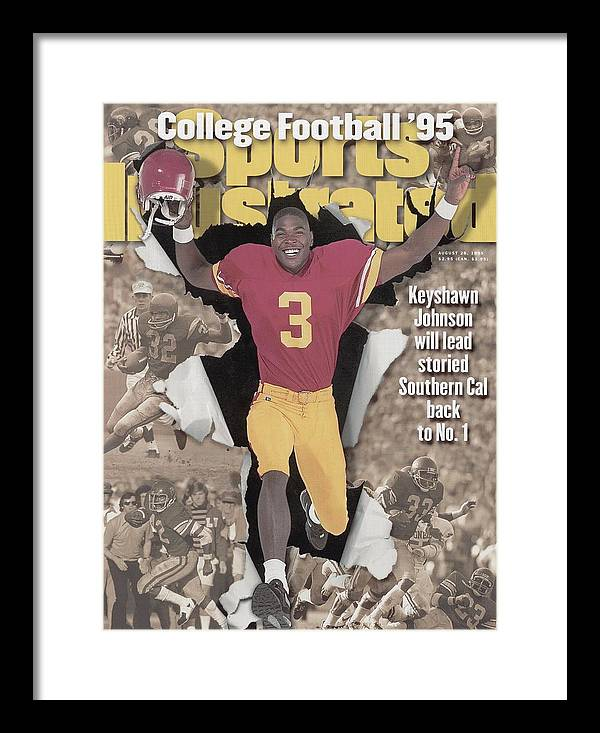 California Framed Print featuring the photograph University Of Southern California Keyshawn Johnson, 1995 Sports Illustrated Cover by Sports Illustrated