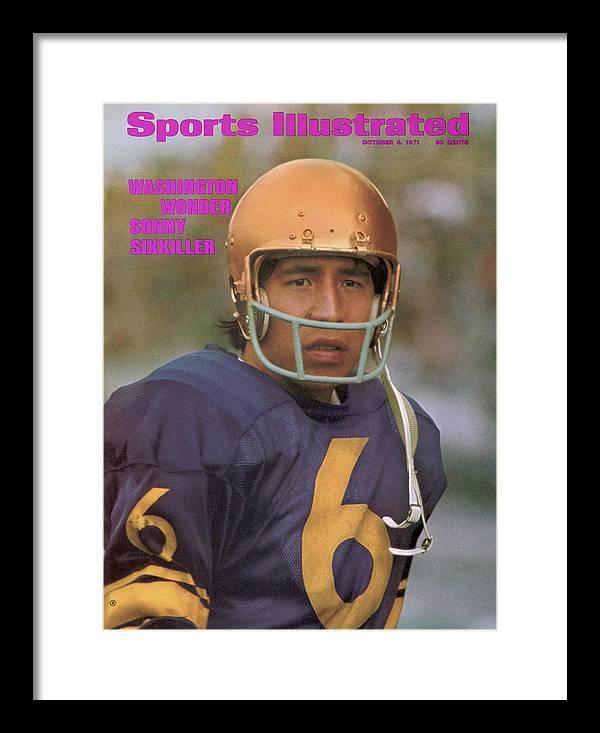 Magazine Cover Framed Print featuring the photograph University Of Washington Qb Sonny Sixkiller Sports Illustrated Cover by Sports Illustrated