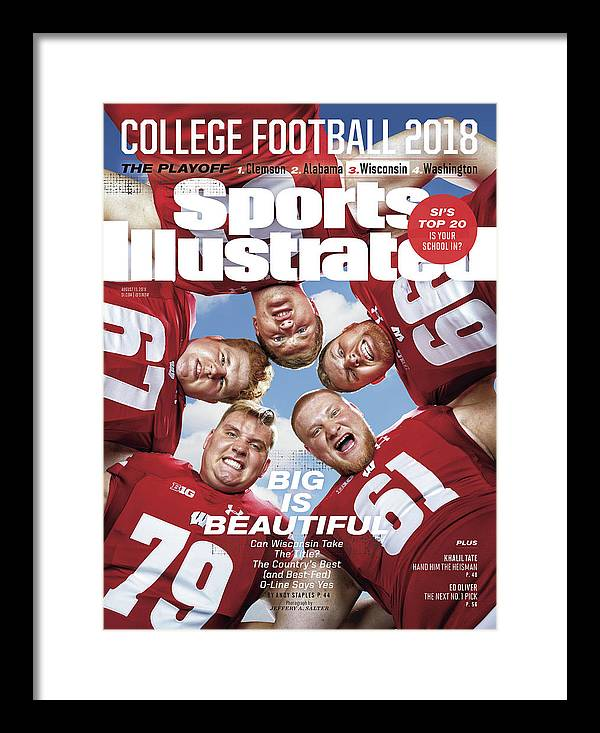 Season Framed Print featuring the photograph University Of Wisconsin Offensive Line, 2018 College Sports Illustrated Cover by Sports Illustrated