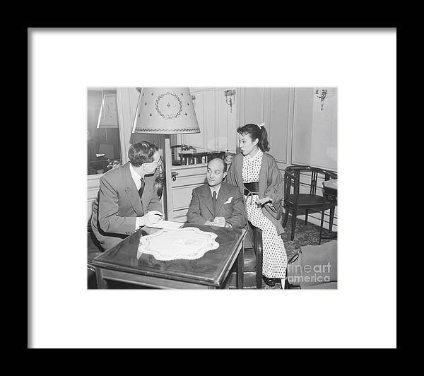 Mid Adult Women Framed Print featuring the photograph Upi Journalist Interviewing Japanese by Bettmann