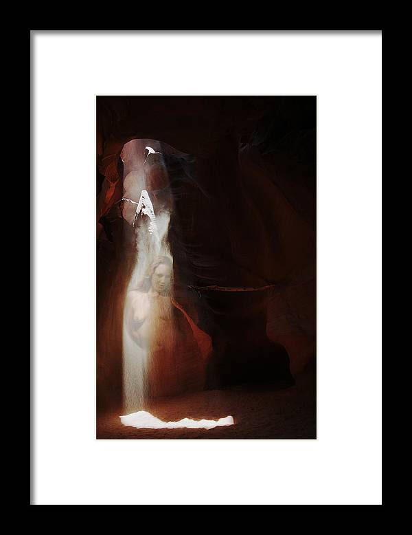 Habenero Framed Print featuring the photograph Upper Antelope Canyon Sun Shower Nymph by Richard Henne