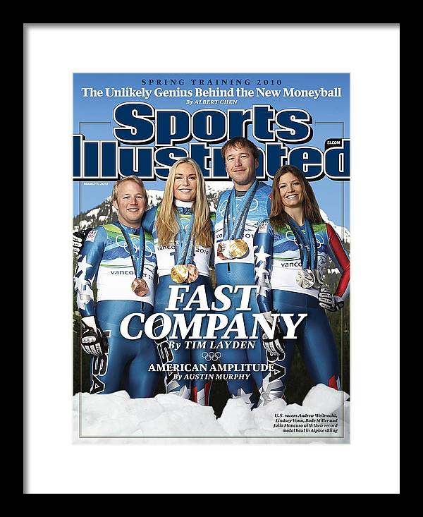 Skiing Framed Print featuring the photograph Us Alpine Skiing Medalists, 2010 Winter Olympics Sports Illustrated Cover by Sports Illustrated