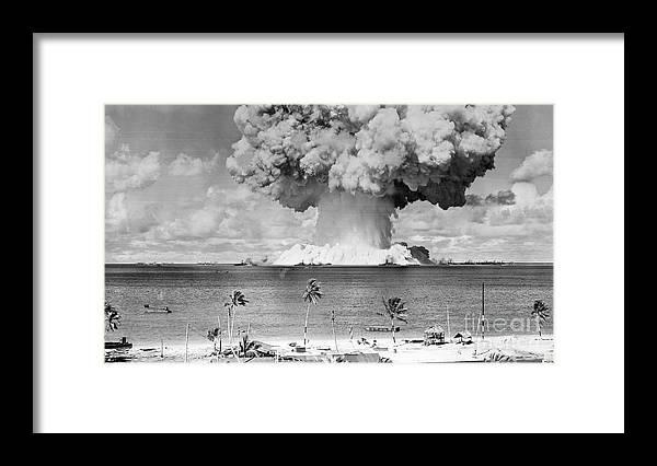 Air Pollution Framed Print featuring the photograph U.s. Atomic Bomb Test At Bikini Atoll by Bettmann