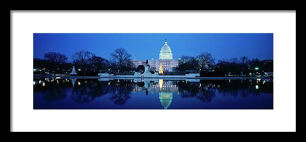 Scenics Framed Print featuring the photograph Us Capitol And Christmas Tree by Walter Bibikow