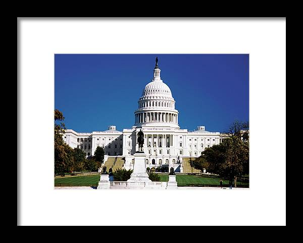 Statue Framed Print featuring the photograph U.s. Capitol Building In Washington by Medioimages/photodisc