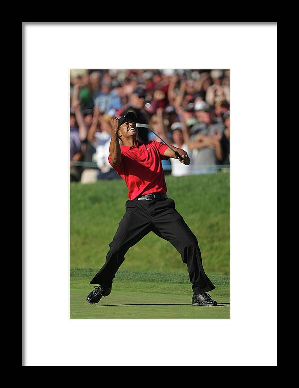Tiger Woods Framed Print featuring the photograph U.s. Open Championship - Final Round by Doug Pensinger
