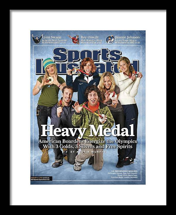 Magazine Cover Framed Print featuring the photograph Us Snowboarding Medalists, 2006 Winter Olympics Sports Illustrated Cover by Sports Illustrated