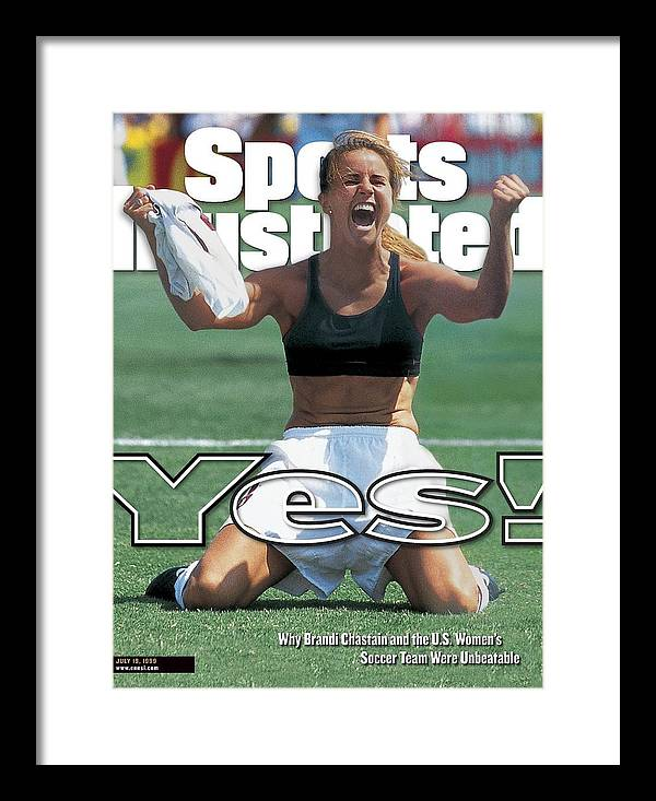 Magazine Cover Framed Print featuring the photograph Usa Brandi Chastain, 1999 Womens World Cup Final Sports Illustrated Cover by Sports Illustrated