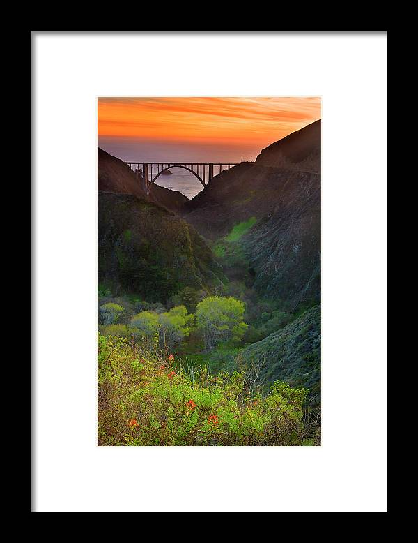 Tranquility Framed Print featuring the photograph Usa, California, Big Sur, Bixby Bridge by Don Smith