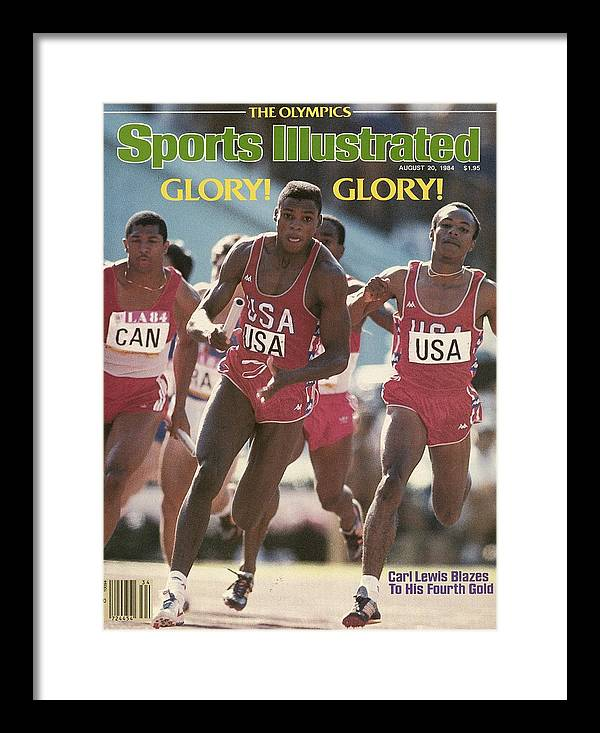 Magazine Cover Framed Print featuring the photograph Usa Carl Lewis, 1984 Summer Olympics Sports Illustrated Cover by Sports Illustrated