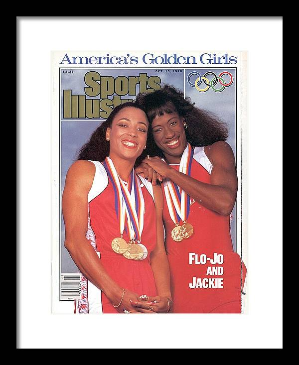 Magazine Cover Framed Print featuring the photograph Usa Florence Griffith-joyner And Jackie Joyner-kersee, 1988 Sports Illustrated Cover by Sports Illustrated