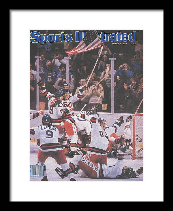 Magazine Cover Framed Print featuring the photograph Usa Hockey, 1980 Winter Olympics Sports Illustrated Cover by Sports Illustrated