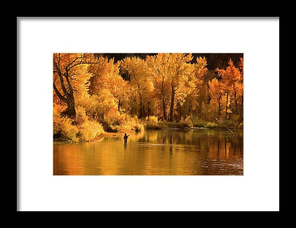 Orange Color Framed Print featuring the photograph Usa, Idaho, Salmon River, Mature Man by Steve Bly