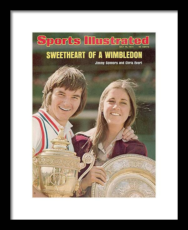 Magazine Cover Framed Print featuring the photograph Usa Jimmy Connors And Usa Chris Evert, 1974 Wimbledon Sports Illustrated Cover by Sports Illustrated