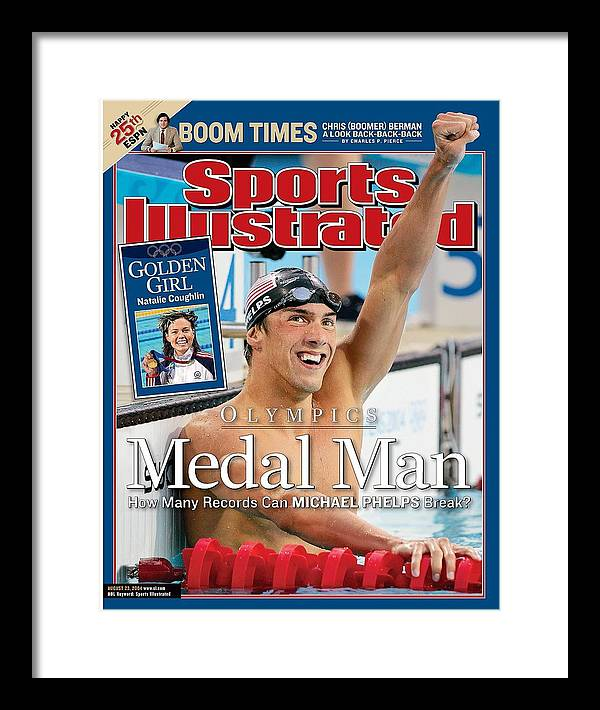 Magazine Cover Framed Print featuring the photograph Usa Michael Phelps, 2004 Summer Olympics Sports Illustrated Cover by Sports Illustrated