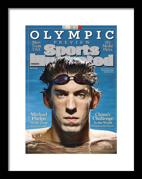The Olympic Games Framed Print featuring the photograph Usa Michael Phelps, 2008 Beijing Olympic Games Preview Sports Illustrated Cover by Sports Illustrated