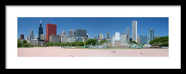 Panoramic Framed Print featuring the photograph Usa, Michigan, Chicago, Buckingham by Travelpix Ltd