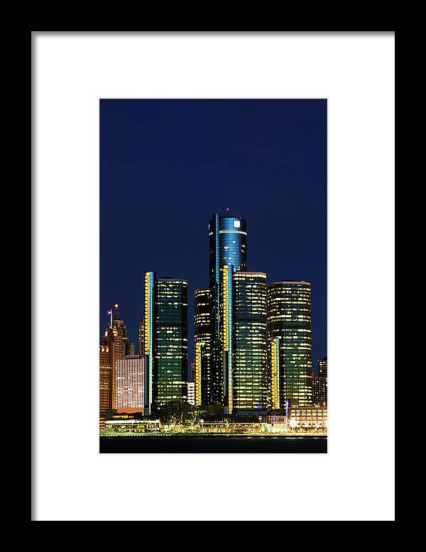 Detroit Framed Print featuring the photograph Usa, Michigan, Detroit, Skyline & by Walter Bibikow