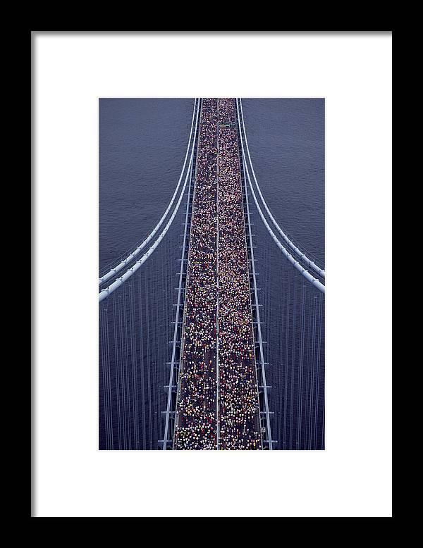 Crowd Framed Print featuring the photograph Usa, New York City, Marathon Race by Joanna Mccarthy