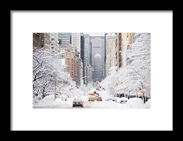 Tranquility Framed Print featuring the photograph Usa, New York City, Park Avenue In by Fotog