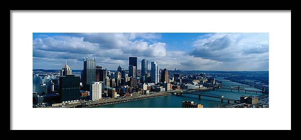 Panoramic Framed Print featuring the photograph Usa, Pennsylvania, Pittsburgh, Skyline by Jeremy Woodhouse