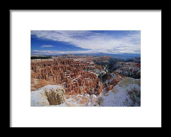 Snow Framed Print featuring the photograph Usa, Utah, Winter Bryce Canyon by Stan Osolinski