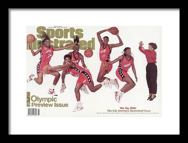 The Olympic Games Framed Print featuring the photograph Usa Womens Basketball Team, 1996 Atlanta Olympic Games Sports Illustrated Cover by Sports Illustrated