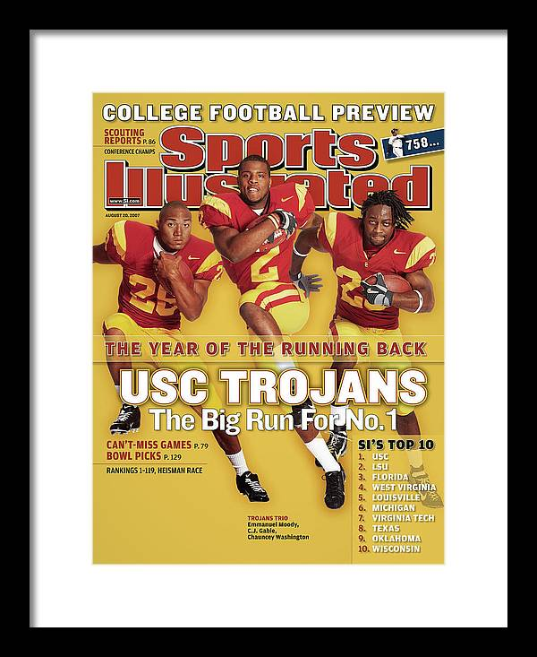 Magazine Cover Framed Print featuring the photograph Usc Emmanuel Moody, C.j. Gable, And Chauncey Washington Sports Illustrated Cover by Sports Illustrated