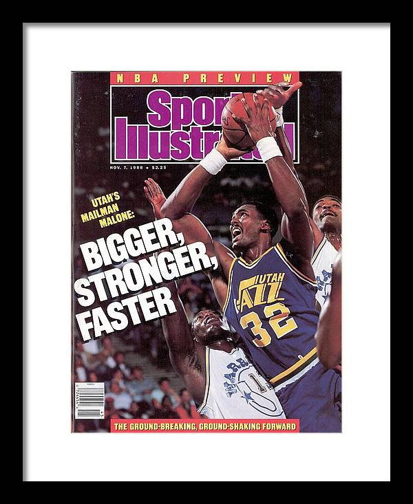Ralph Sampson Framed Print featuring the photograph Utah Jazz Karl Malone, 1988 Nba Baseball Preview Sports Illustrated Cover by Sports Illustrated