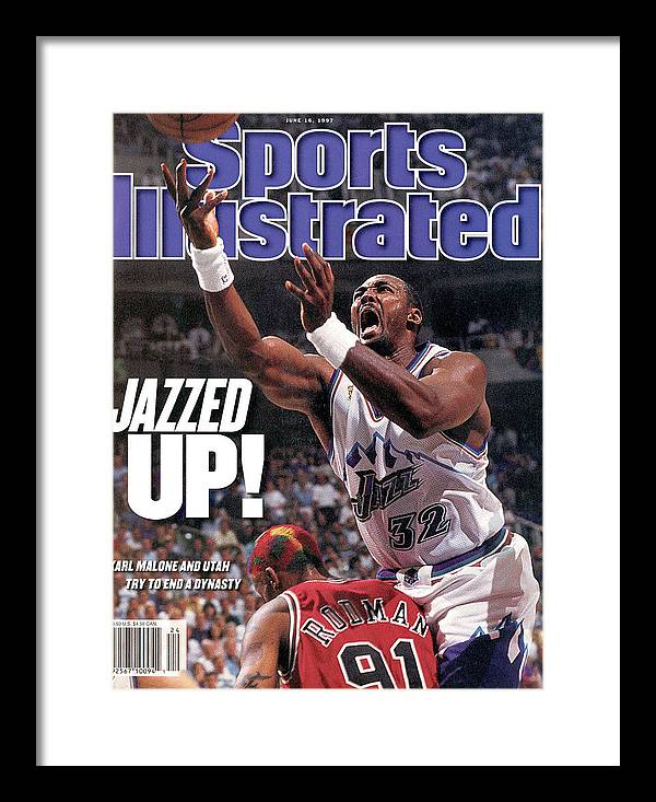 Chicago Bulls Framed Print featuring the photograph Utah Jazz Karl Malone, 1997 Nba Finals Sports Illustrated Cover by Sports Illustrated