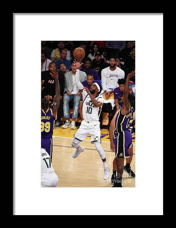 Nba Pro Basketball Framed Print featuring the photograph Utah Jazz V Los Angeles Lakers by Adam Pantozzi