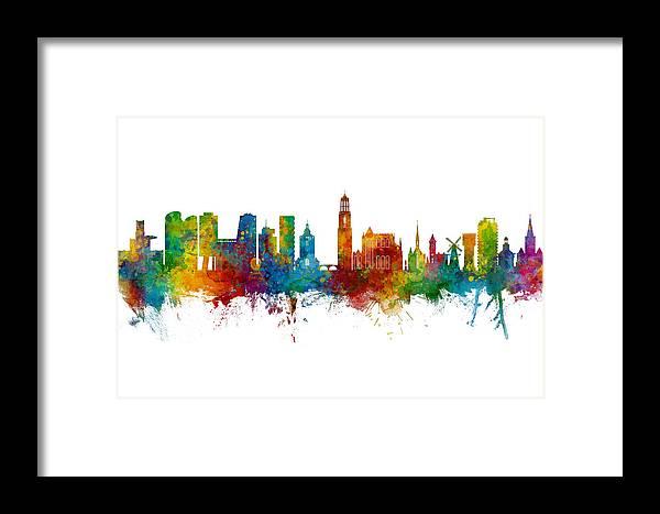 Utrecht Framed Print featuring the digital art Utrecht The Netherlands Skyline by Michael Tompsett