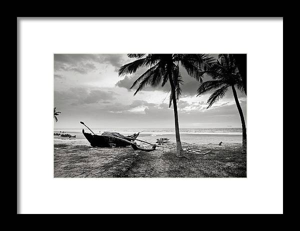 Tranquility Framed Print featuring the photograph Uttorda Beach , Goa, India Fishing Boat by Anoop Negi