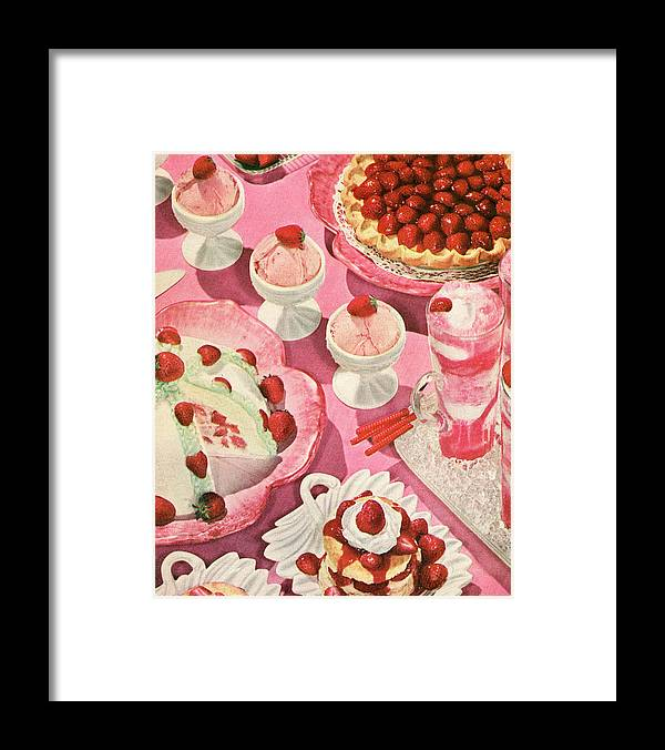 Milk Framed Print featuring the photograph Variety Of Strawberry Desserts by Graphicaartis