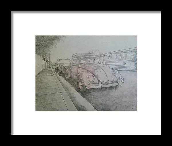 Drawing Of Vw Framed Print featuring the drawing Vdub by Andrew Johnson