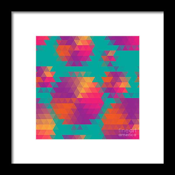 Magenta Framed Print featuring the digital art Vector Abstract Seamless Pattern With by Olha Kostiuk