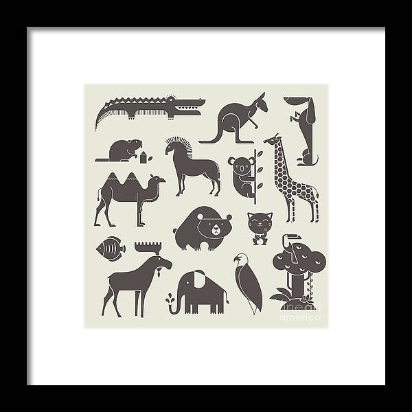 Lucky Framed Print featuring the digital art Vector Animals Set by Vector Pro