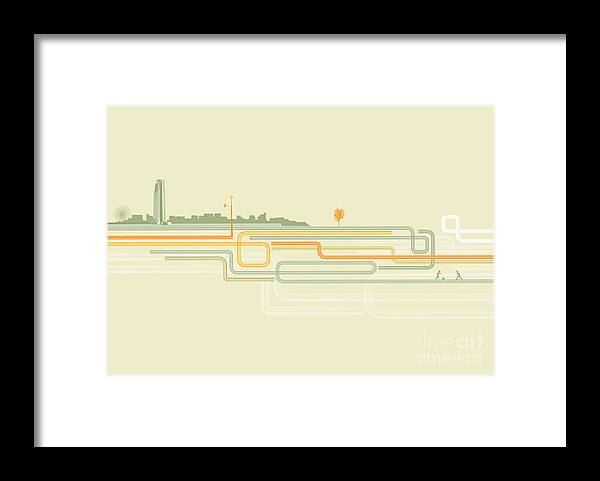 Symbol Framed Print featuring the digital art Vector Illustration Of Color Lines With by Pixel Embargo