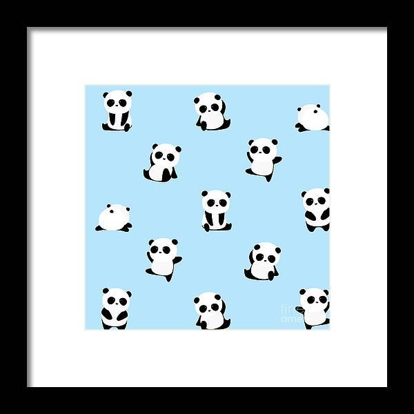 Panda Framed Print featuring the digital art Vector Pattern Panda Bear Pattern On by Junxu Lu
