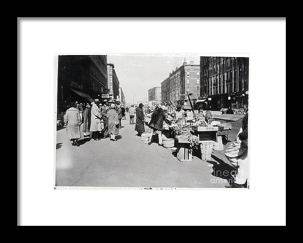 People Framed Print featuring the photograph Vegetable Stands In Harlem by Bettmann
