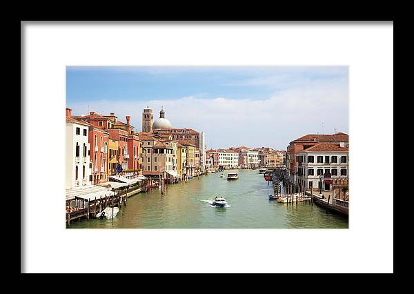 Motorboat Framed Print featuring the photograph Venice Grand Canal Scene, Veneto Italy by Romaoslo