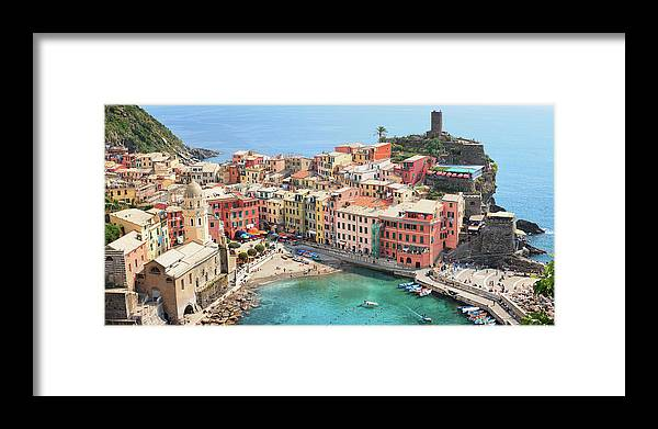 Water's Edge Framed Print featuring the photograph Vernazza by Borchee