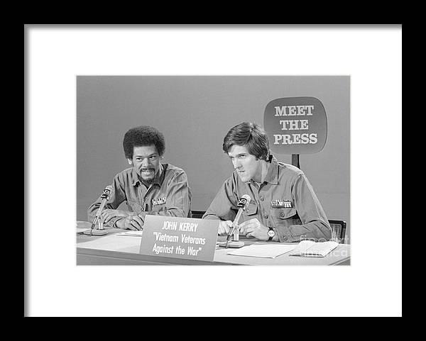 Talkshow Framed Print featuring the photograph Veterans Hubbard And Kerry On Meet by Bettmann