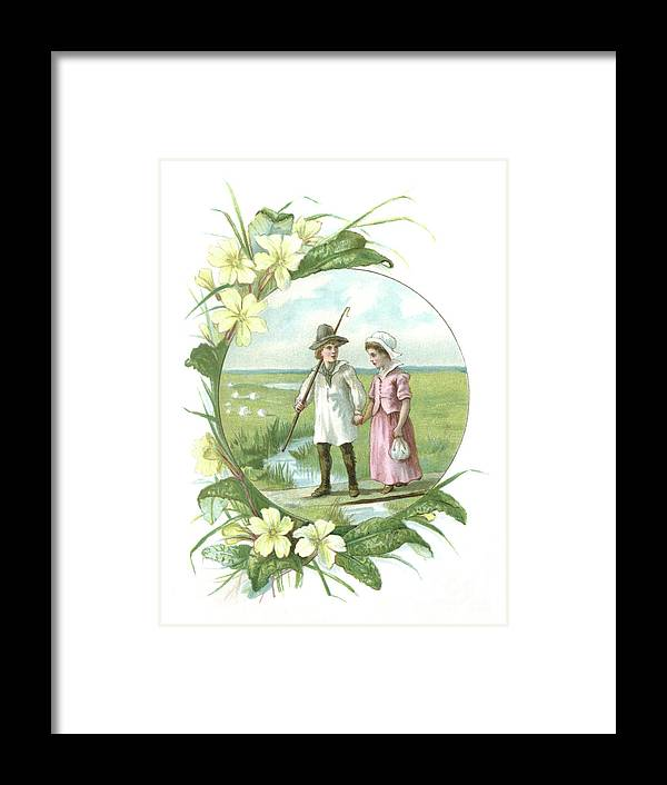 Primula Framed Print featuring the digital art Victorian Illustration Of A Shepherd by Whitemay