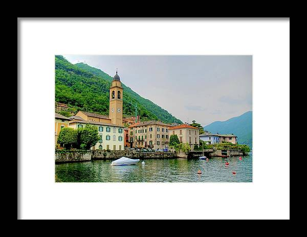 Part Of A Series Framed Print featuring the photograph View From Laglio On Lake Como by Cranjam