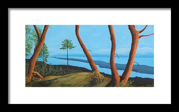 Island View Framed Print featuring the painting View From The Legends, Gabriola Is by Johanna Wray