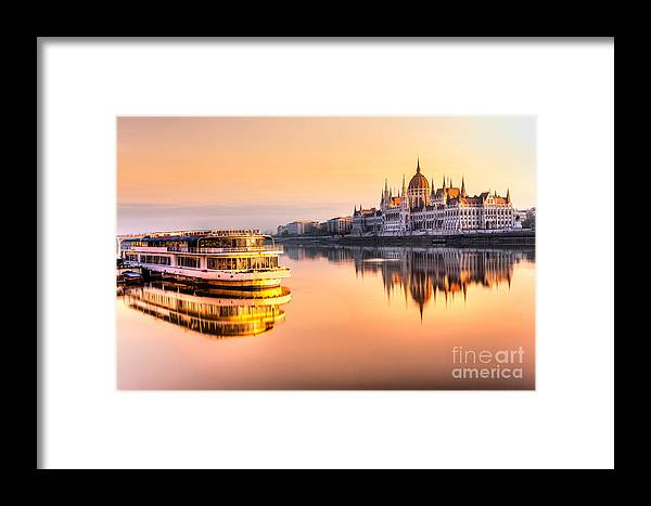 Capital Framed Print featuring the photograph View Of Budapest Parliament At Sunrise by Luciano Mortula - Lgm