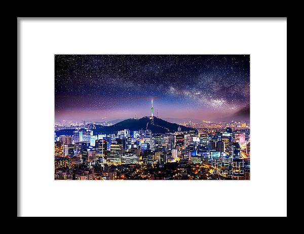 City Framed Print featuring the photograph View Of Downtown Cityscape And Seoul by Guitar Photographer