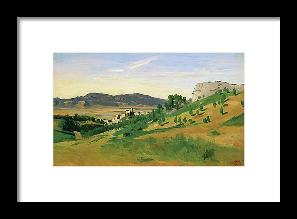 View Of Olevano Framed Print featuring the painting View Of Olevano - Digital Remastered Edition by Jean-Baptiste Camille Corot