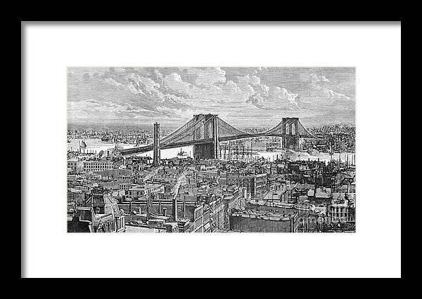 Suspension Bridge Framed Print featuring the photograph View Of The Brooklyn Bridge by Bettmann
